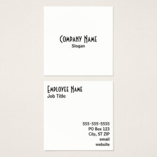Simple Black and White Square Business Card