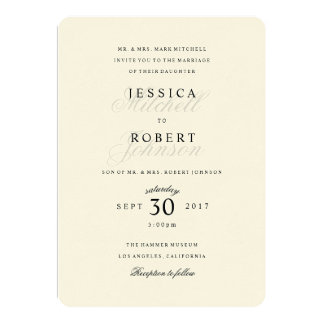 Simple Black and White Traditional Type Wedding Card
