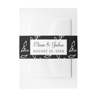 Simple Black and White Wedding Invitation Belly Band
