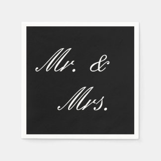 Simple Black and White Wedding Napkins Disposable Serviette