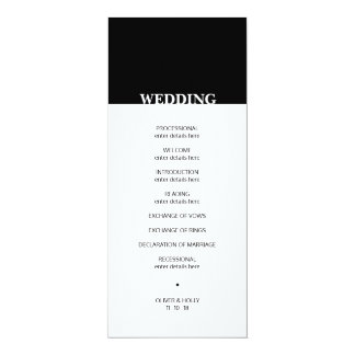 Simple black and white wedding program