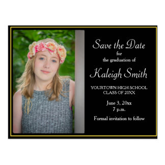 Simple Black and Yellow Graduation Save the Date Postcard
