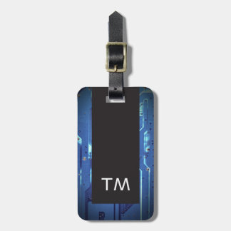 Simple Black Blue Circuit Board Monogram Luggage Tag
