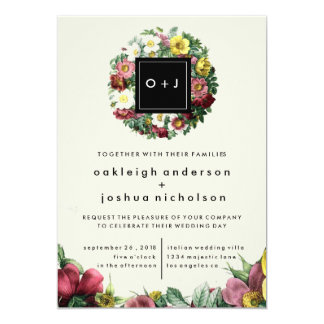 Simple Black Box | Vintage Flower Wedding Invite