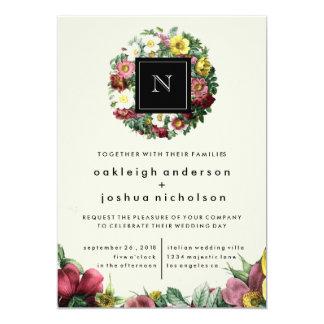 Simple Black Box   Vintage Flower Wedding Invite
