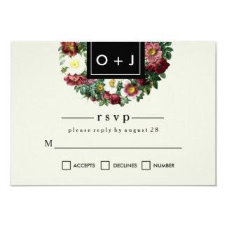 Simple Black Box   Vintage Flower Wedding RSVP Card
