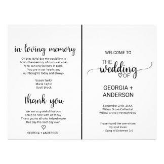 Simple Black Calligraphy Folded Wedding Program Flyer