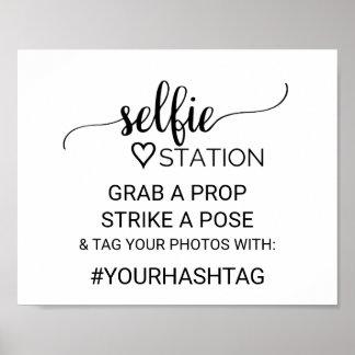 Simple Black Calligraphy Selfie Station Sign