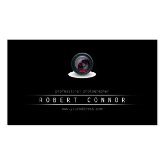 Simple Black Camera Lens Photographer Card Pack Of Standard Business Cards