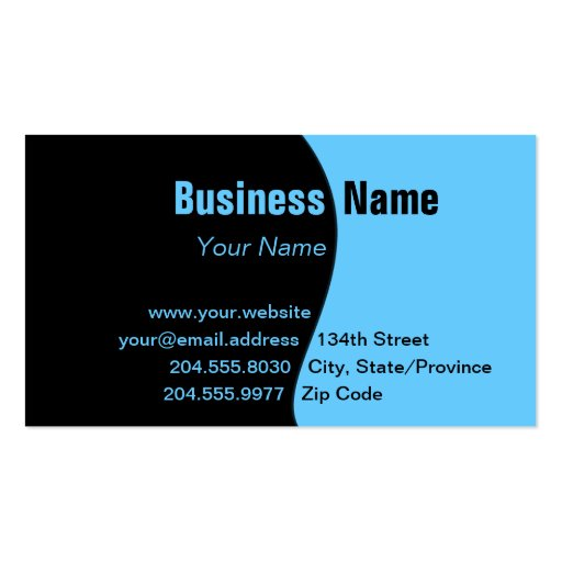 Simple Black Changeable Color Curve Business Card
