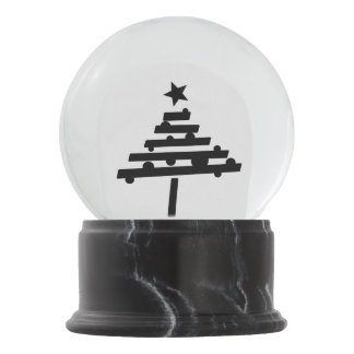 Simple Black Christmas Tree with a Star Snow Globe