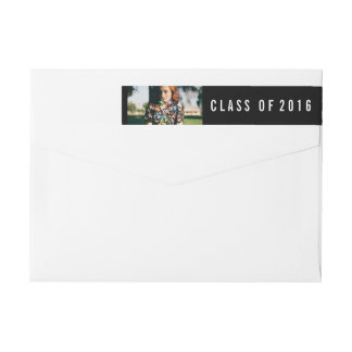 Simple Black Class Of 2016 Graduate Photo Wrap Around Label