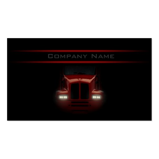 Simple Black Design Red Truck Front Card Business Card