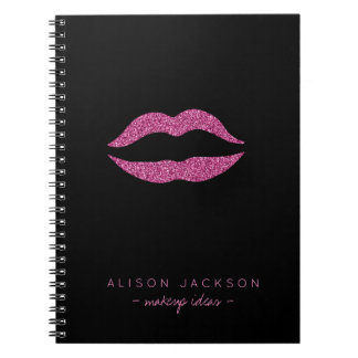 Simple black faux glitter lips glam makeup artist notebook