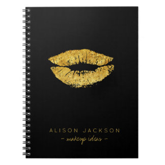Simple black faux gold lips glam makeup artist notebook