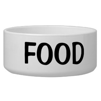 Simple Black Food Text Dog Bowl