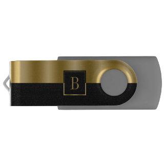 Simple Black & Gold Geometric Design Monogram USB Flash Drive