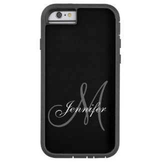 SIMPLE, BLACK, GREY YOUR MONOGRAM YOUR NAME TOUGH XTREME iPhone 6 CASE