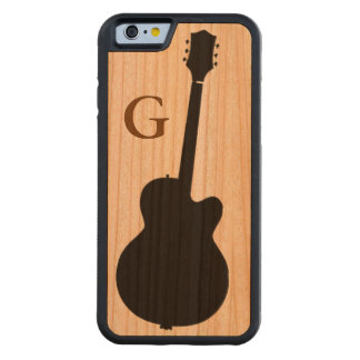 simple black guitar & initial carved cherry iPhone 6 bumper case