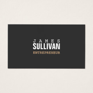 Simple Black Modern Entrepreneur Hip Minimalist Business Card