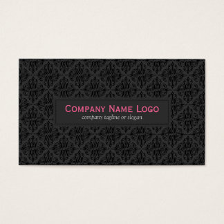 Simple Black Monochromatic Vintage Floral Damask Business Card