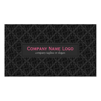 Simple Black Monochromatic Vintage Floral Damask Pack Of Standard Business Cards