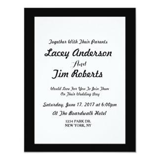 Simple Black Monogram Wedding Invitation