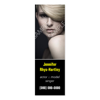 Simple Black Panel Headshot Double-Sided Mini Business Cards (Pack Of 20)