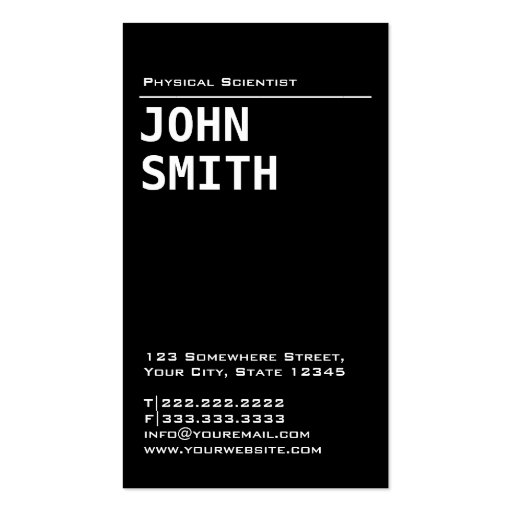 Simple Black Physical Scientist Business Card