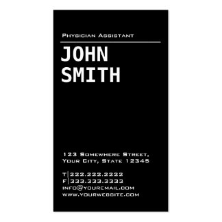 Simple Black Physician Assistant Business Card