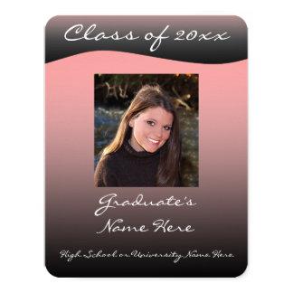 Simple Black & Pink Wave Graduation Announcement