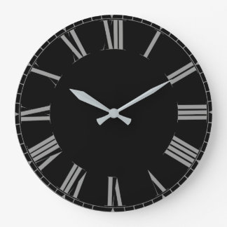 Simple black roman numerals large clock