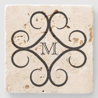 Simple black swirl personalized monogram stone coaster