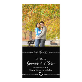 Simple Black wedding Save the Date Picture Card