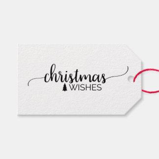 Simple Black & White Calligraphy Christmas Name Gift Tags
