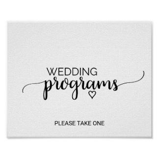Simple Black & White Calligraphy Programs Sign