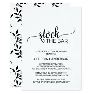 Simple Black & White Calligraphy Stock the Bar Card