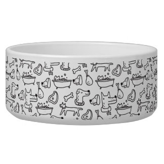 Simple black & white dog pattern large pet bowl