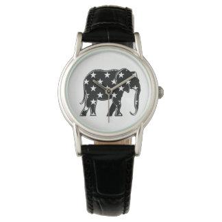 Simple Black White Elephant Elegant Stars Stylish Wrist Watches