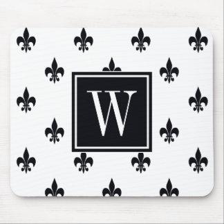 Simple Black & White Fleur De Lis Pattern Monogram Mouse Pad