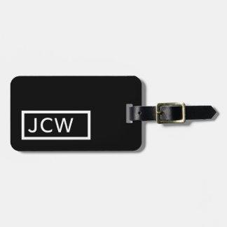 Simple Black White Frame Bold Monogram Luggage Tag