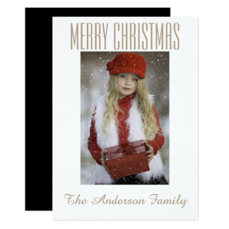 Simple Black White Gold Photo Christmas Holiday Card