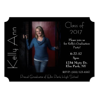Simple Black & White Graduation Photo Party Invite