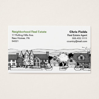 Simple Black & White Illustration of Homes Business Card