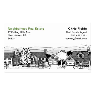 Simple Black & White Illustration of Homes Pack Of Standard Business Cards