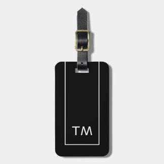 Simple Black White Lines Bold Monogram Luggage Tag