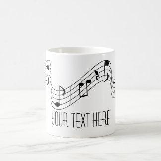 Simple Black White Music Notes Custom Name Coffee Mug