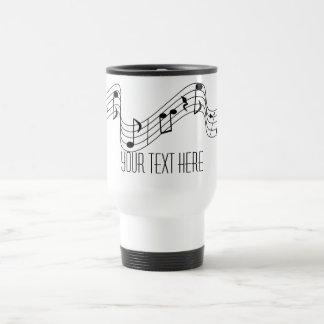 Simple Black White Music Notes Custom Name Stainless Steel Travel Mug