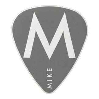 simple black / white name / initial acetal guitar pick