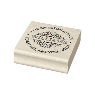 Simple Black & White Ornate Custom Return Address Rubber Stamp
